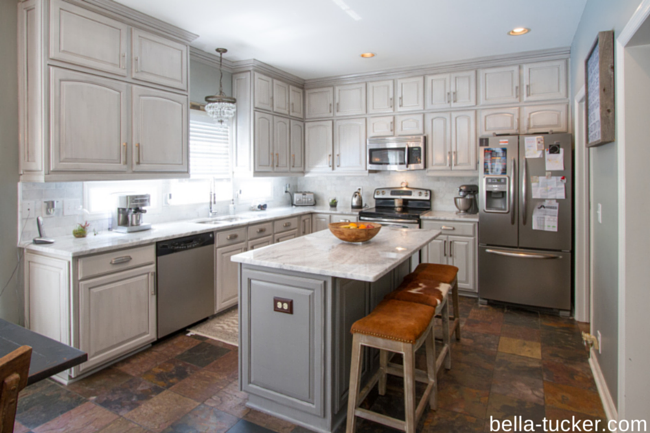 Is Kitchen Cabinet Painting A Fad Bella Tucker Decorative Finishes - Gray kitchen cabinets with marble countertops